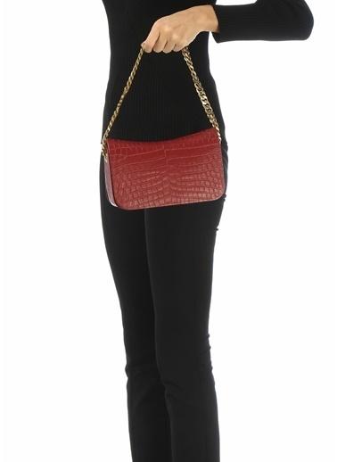Saint Laurent Saint Laurent Elise  Krokodil Kadın Deri El Çantası 101612685 Kırmızı